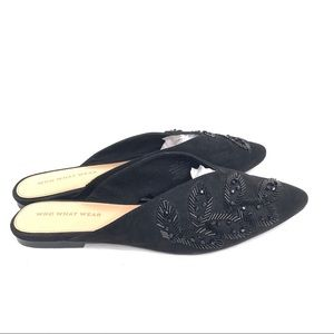 Who What Wear Bianca Black Meaded Point Toe Mules